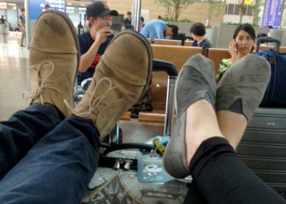 Waiting for our flight