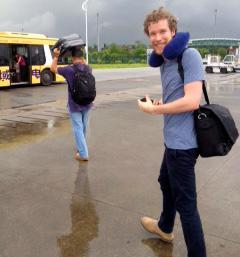 Walking to the Guangzhou airport bus